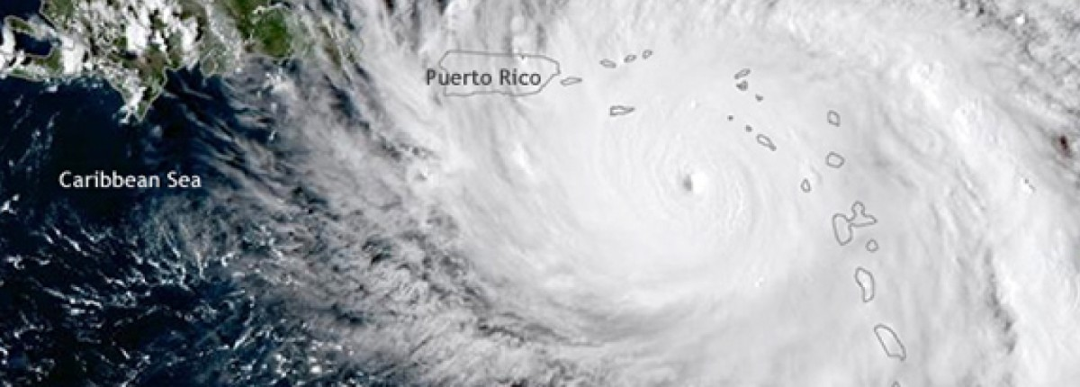 Hurricane Maria approaching Puerto Rico on September 19, 2017. Image by Tim Loomis, National Oceanic and Atmospheric Administration Satellites group.