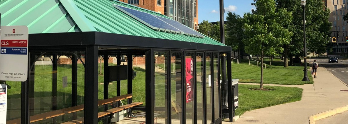 Solar panels on top of the bus stop at the Union on the Ohio State campus.