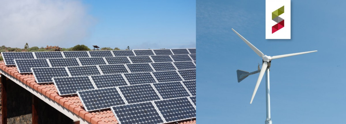 picture of solar panels on left; picture of wind turbine on right