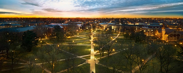 aerial view of Ohio State Oval at dawn